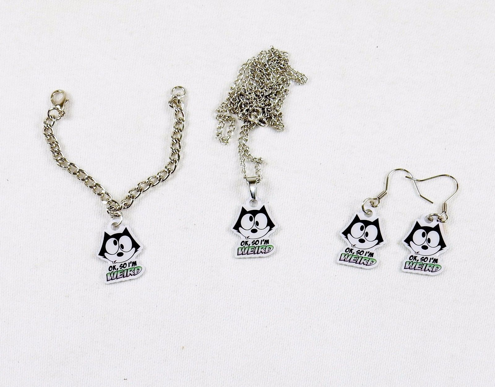 Primary image for Felix The Cat Girl's Jewelry Set ~ Necklace, Earrings, Bracelet #FLX-WRD-02