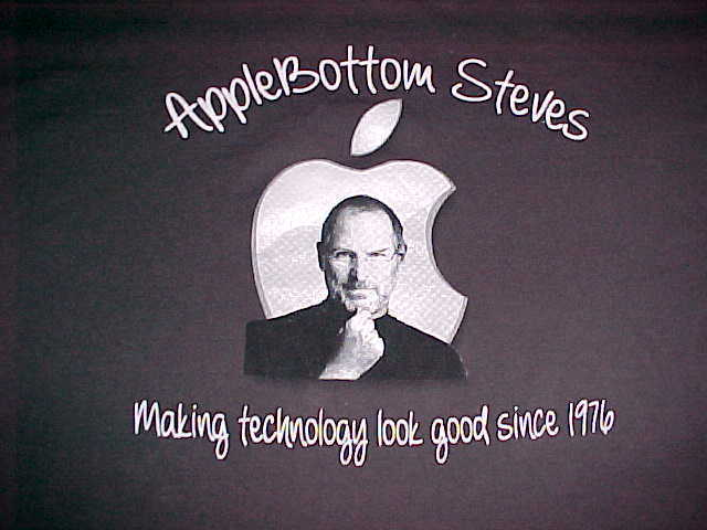 Primary image for District Made Apple Bottom Steve Job Adult Unisex Black Crew Neck T Shirts 2XL