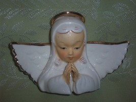 Midcentury Vintage White Ceramic Angel Bust Fig... - $12.95