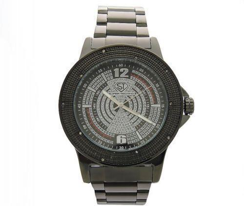 Primary image for Super Techno 0.10CT diamonds Watch Black Case & face M-6054