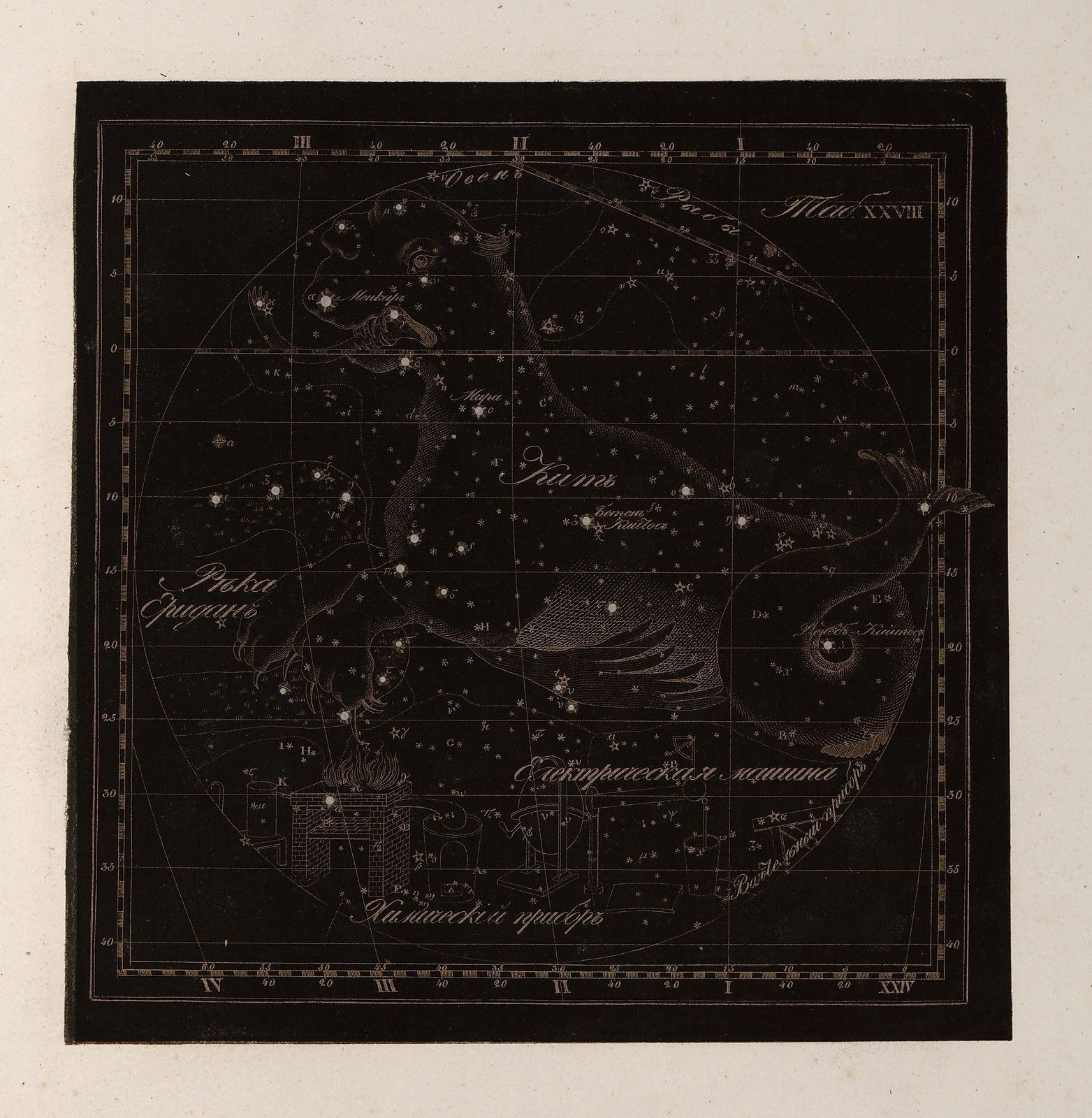 Primary image for 1829 RUSSIAN CELESTIAL atlas Cetus Sea Monster whale Reissig constellation 28