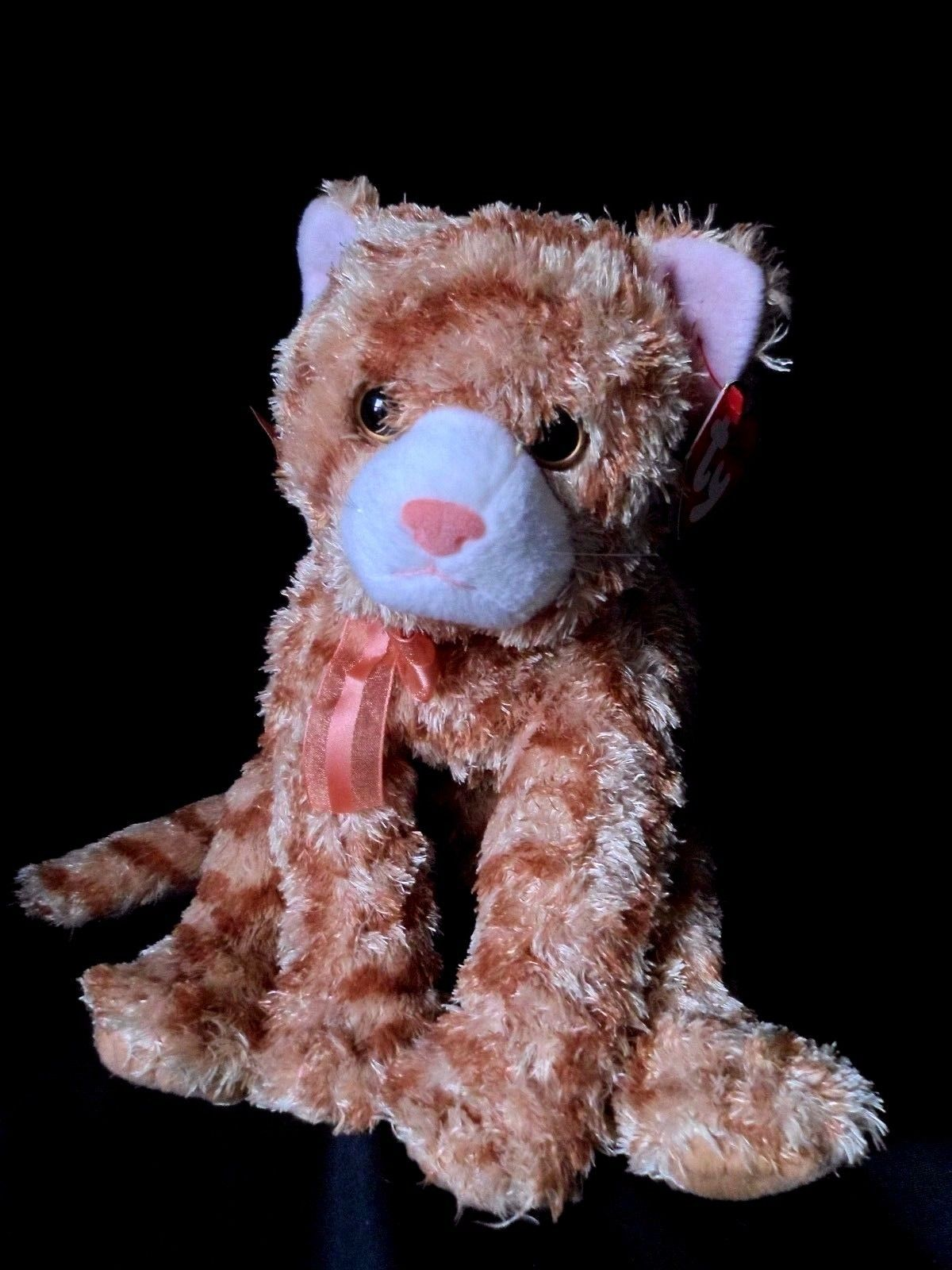 "Primary image for Ty APRICOT Orange Striped Tiger Cat TySilk Classic/Plush (13"") Silky  2004"