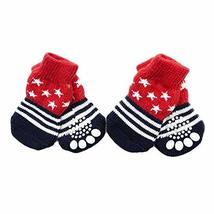 PANDA SUPERSTORE 4 Pcs Red Stars Cute Puppy Cat Socks Knitted Pet Socks Dog Paw