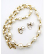 Vintage Faux Pearl Single Strand Necklace Spacer Beads Pierced Earrings ... - $19.79