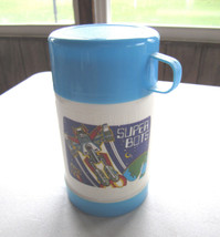 Vintage Super Bots Lunch Plastic White Blue Sippy Thermos 8 Oz. Go - $11.57