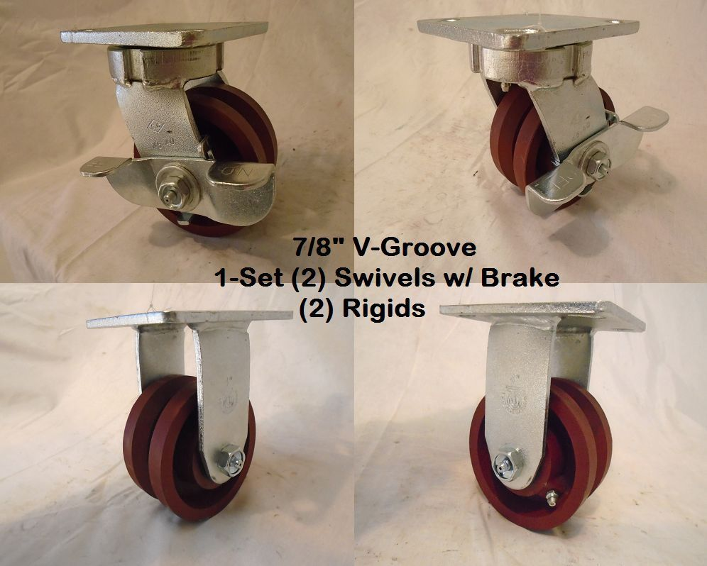"Primary image for 4"" x 2"" Swivel Caster Kinpinless V-Groove Ductile Steel Wh Brake&Rigid 1500lb ea"
