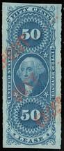 R57a, 50¢ Lease Red Hand Stamp Cancel Superb Four Margin Jumbo GEM - Stu... - $55.00