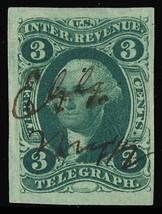 R19a, 3¢ Telegraph Revenue Superb With Four Large Margins - Stuart Katz - $90.00