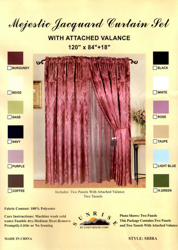 NEW Window Curtain / Drape Set + Valance + Lace Liner - HUNTER GREEN