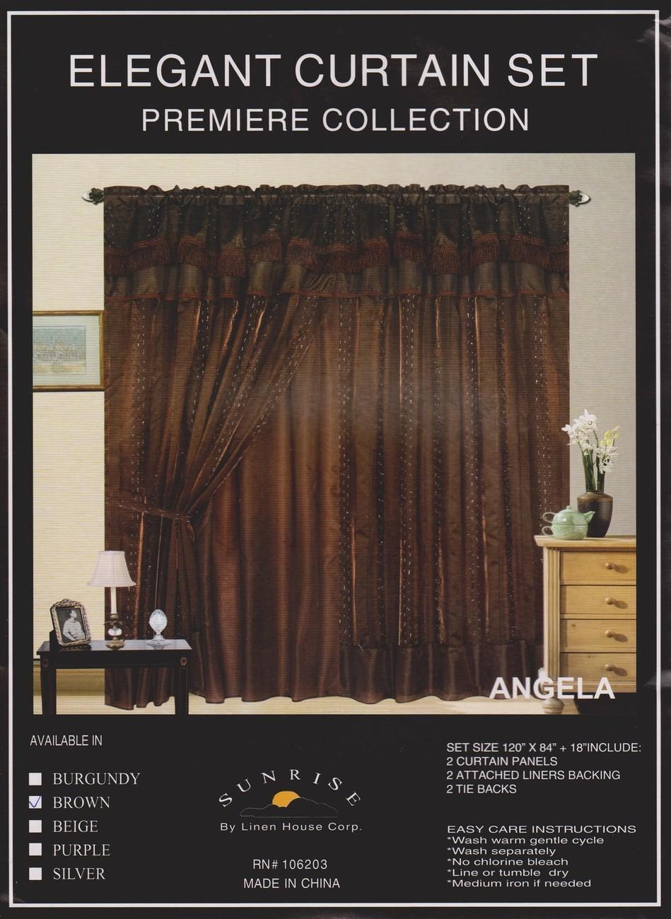 "New Elegant Curtain / Drape Set + Valance + Backing + Tie Backs ""Angela"" BROWN"