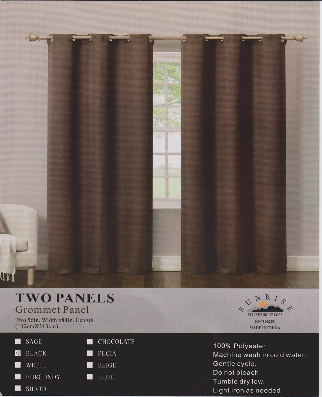 New Elegant Metal Grommets 2 Panels Curtain/Drape Set Solid Black 100% Polyester
