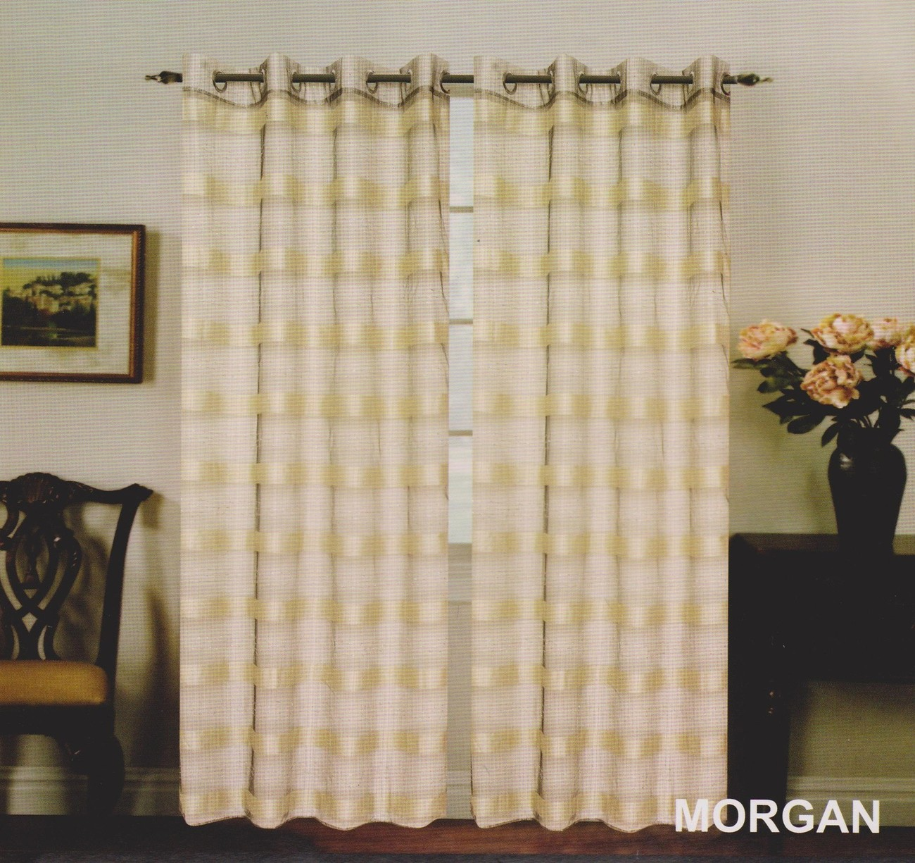 "New Elegant Metal Grommets See-Through Sheer Curtain Set ""Morgan"" Beige & Black"
