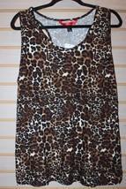 New Womens Plus Size 3 X Leopard Print Gradient Soft Brushed Knit Tank Top Shirt - $16.43