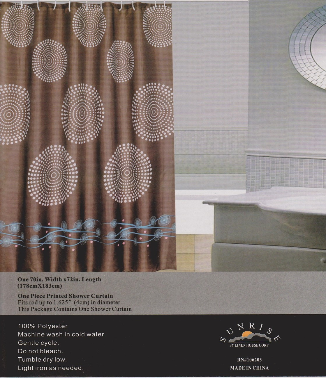 New Modern Design Printed Fabric Shower / Bath Curtain +12 Rings / Hooks - BROWN