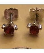 Petite Red Crystal Like Stud Earrings - $5.00