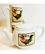 CIB Ceramic TeaPot  & 2 Mugs/Cups Rooster By Bay Island Inc. - $39.59