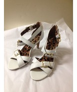 Women's White Leather Jessica Simpson Strapped Heels Size - $29.69
