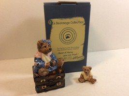 Boyds Collection Le Bearmoge 392008 Bailey Bear w suitcase Figure Trinke... - $23.76