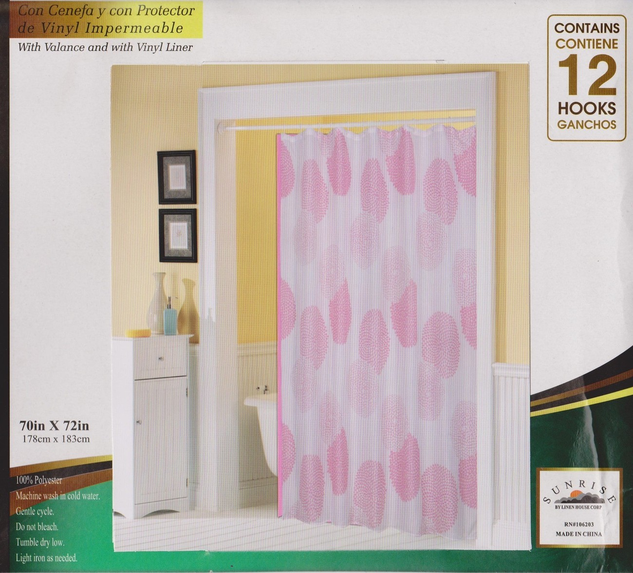 Printed Fabric Shower/Bath Curtain + 12 Rings/Hooks + Vinyl Liner - WHITE & PINK