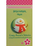 Snowman Red Scarf Needleminder fabric cross stitch needle accessory - $7.00
