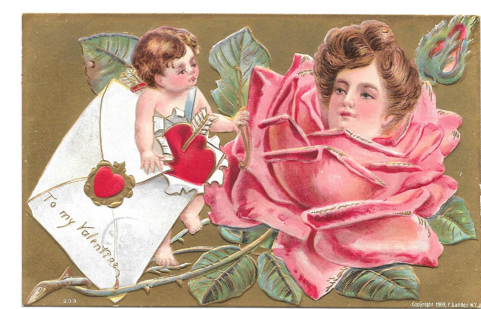 Primary image for Valentine Postcard Cupid Pretty Lady Flower Face in Rose 1908 P Sanders Embossed