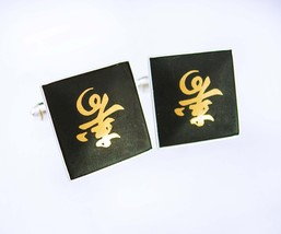 Sterling Amita Wedding Cuff links Damascene Vintage Chinese Symbol HOPE ... - $185.00