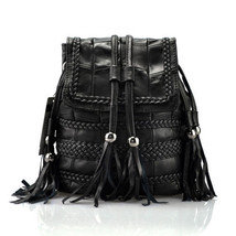 NEW Multi Women's Backpack Genuine Leather Tassel Handbag Shoulder Bags ... - $42.39