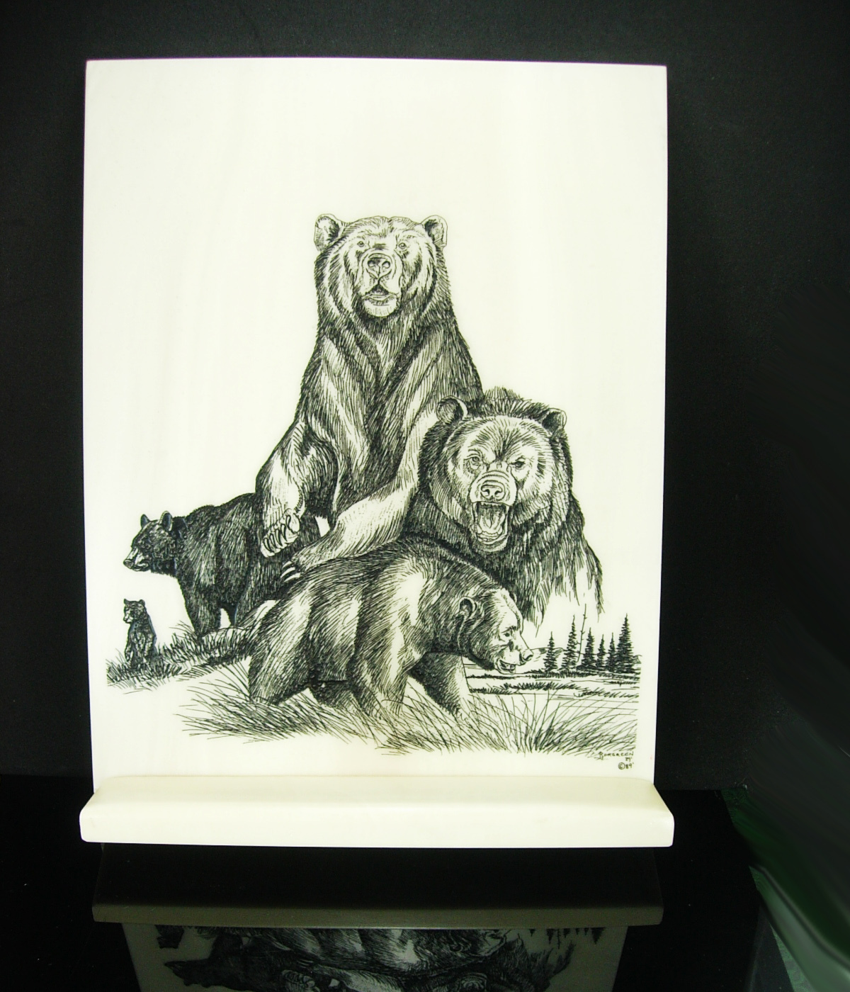 Primary image for Large Scrimshaw Bear Plaque with stand state park ranger forest service forester