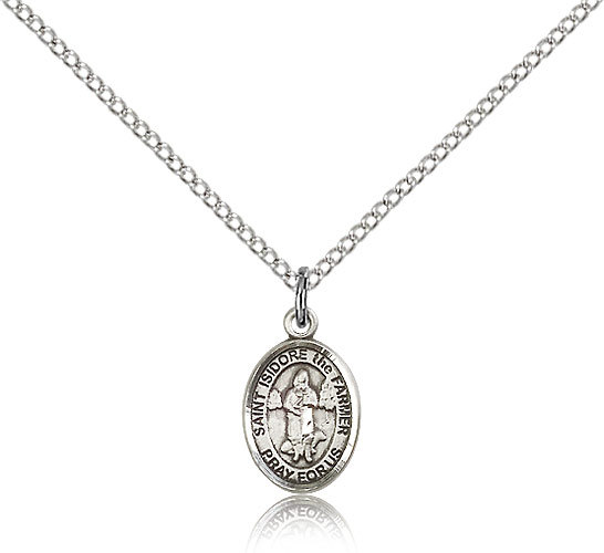 Small Sterling Silver Patron Saint Isidore the Farmer Medal-18 Inch Necklace For