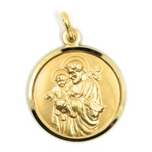 18K YELLOW GOLD ST SAINT SAN GIUSEPPE JOSEPH JESUS MEDAL MADE IN ITALY, 19 MM image 1
