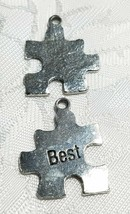 BEST PUZZLE PIECE FINE PEWTER PENDANT CHARM ANTIQUE SILVER FINISH image 1