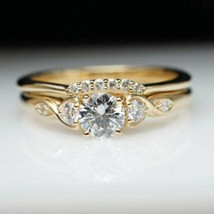 1.3 Ct Round Cut Diamond 14K Yellow Gold Fn Solitaire Bridal Set Engagem... - $104.99