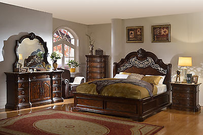Traditional Victorian RB6004 Queen Size Chocolate Wooden 5pc Bedroom Set