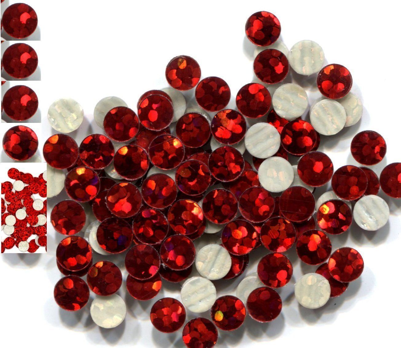HOLOGRAM SPANGLES Hot Fix  RED  Iron on  4mm 1 gross