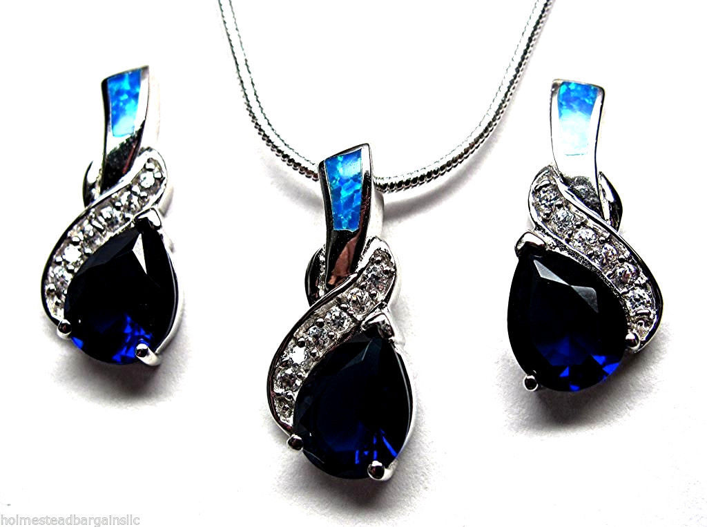 "Primary image for Tanzanite Blue Fire Opal Inlay Sterling Silver 20"" Necklace Earrings Set NEW"