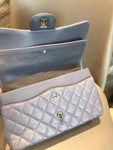 AUTH CHANEL LAVENDER PURPLE LAMBSKIN QUILTED JUMBO DOUBLE FLAP BAG SILVER HW image 7