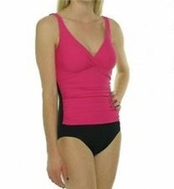 Beach Diva Control One Piece Swimsuit Sz 10 Pink Black Solid V Neck EW30... - $37.34