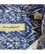 Caribbean Joe Hawaiian Aloha Shirt XL Blue White Geometric Paisley Tapas - $49.49