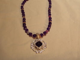 Hand made, one of a kind beaded necklace  Purpl... - $58.00