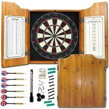 Dartboard Darts Wood Cabinet Games Recreation Basement Garage Backboard ... - $122.99