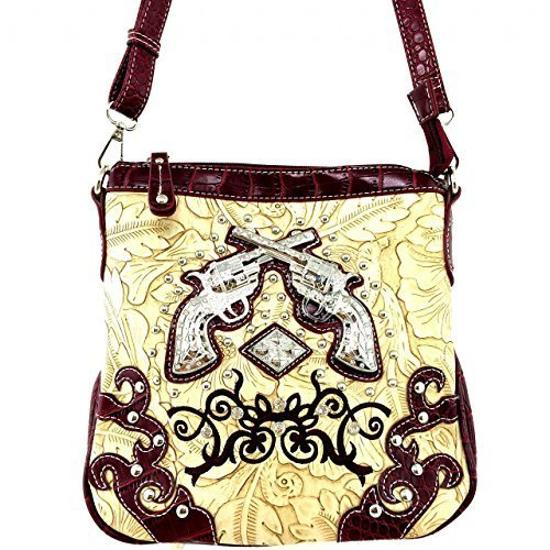 Embossed Western Rhinestone Pistols Cross Body Purse Messenger Bag Croco (Red)