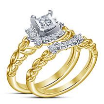 White Gold Finish Princess Cut Diamond Engagement Bridal Wedding Ring Set   - $89.60