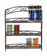 3 Tier Metal Wire Kitchen Spice Organizer Rack - Bronze Tone Scroll Design - $22.94