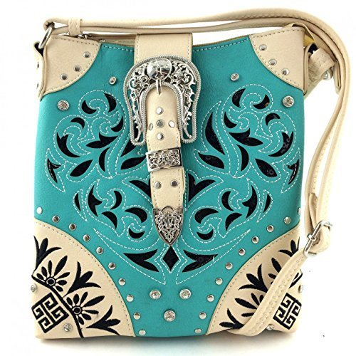 Western Buckle Lazer Cut Messenger Bag Cross Body Purse w/ Concealed Gun Pocket