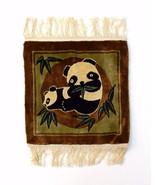 Panda Bear Soft Plush Brown Pile Fringe Tassle Small Square Floor Mat 15... - $8.90