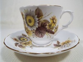 Crown Staffordshire Bone China Cup and Saucer Set Daisy Floral Pattern Gold Trim - $33.99