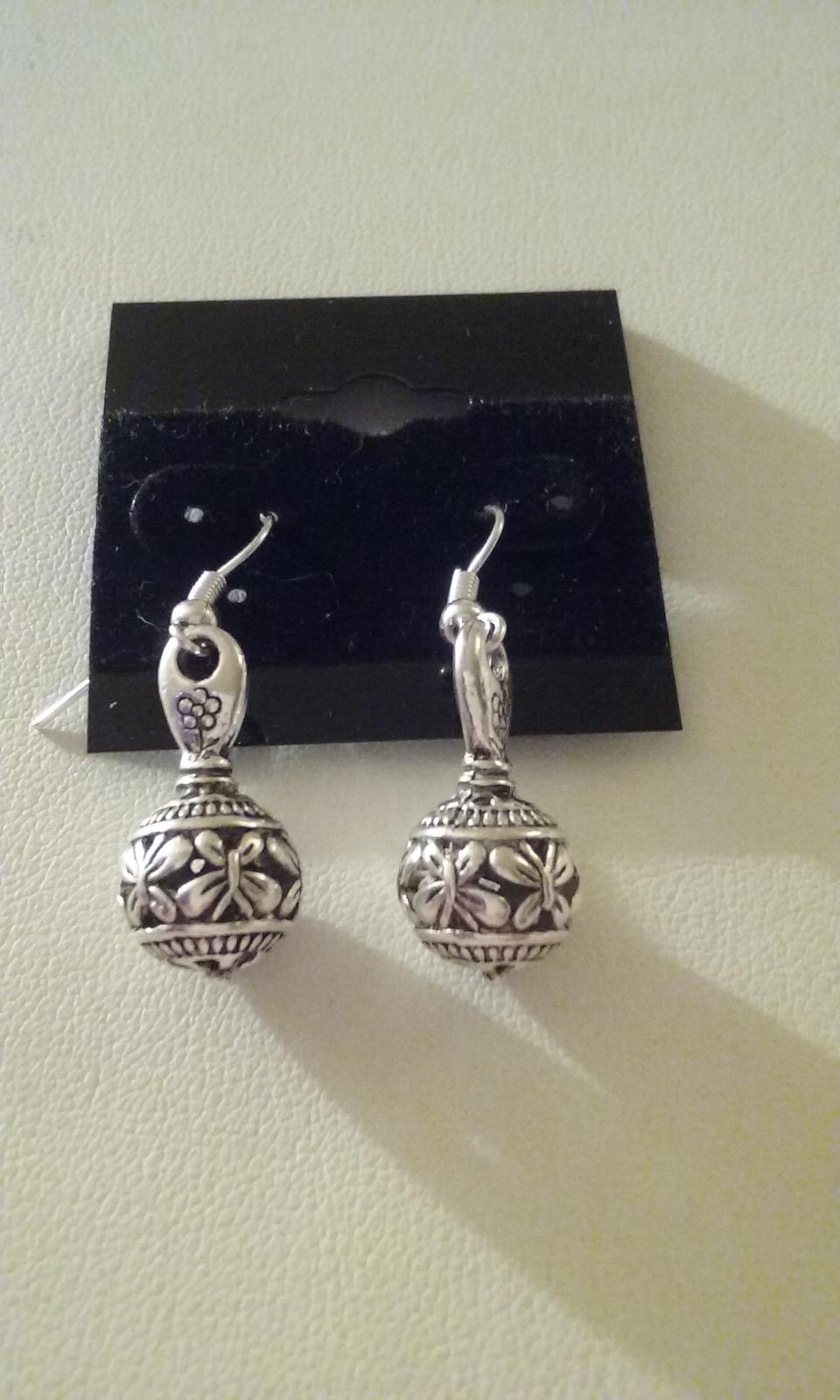 Beautiful Detailed Silver Butterfly Dangle Earrings