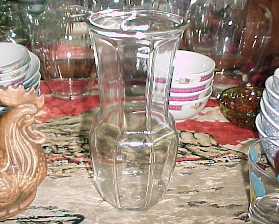 "CLEAR GLASS OCTAGONAL PANELED VASE;8½"" x 3¾"";Archaic Chinese Design;Thick/"