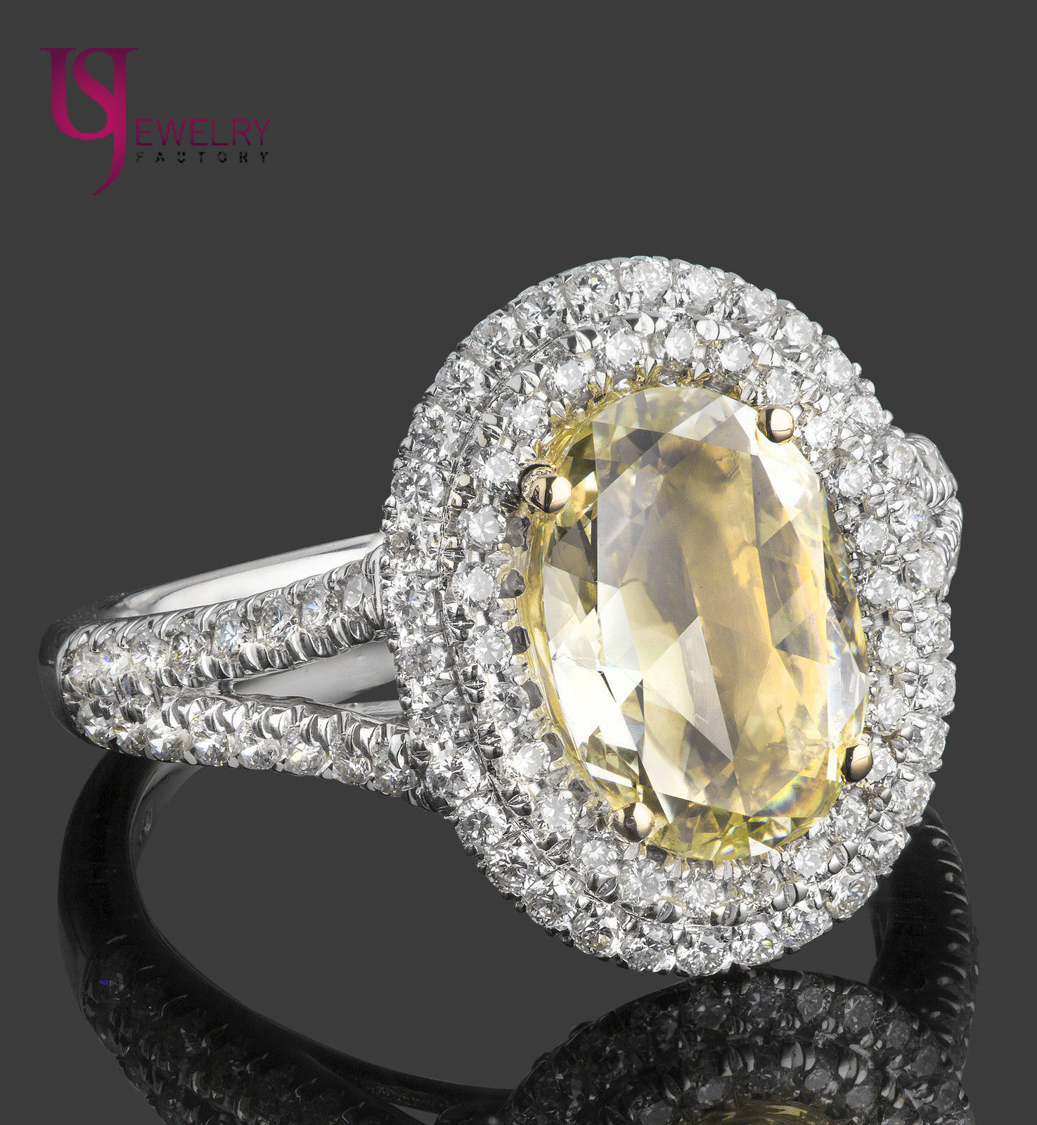 Primary image for 2.21 TCW Fancy Yellow Oval Rose Cut Diamond Engagement Double Halo Ring 18k Gold