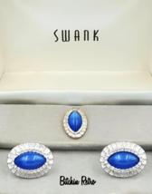 Swank Cufflinks and Tie Pin Set, Blue Cabochon,... - $29.00
